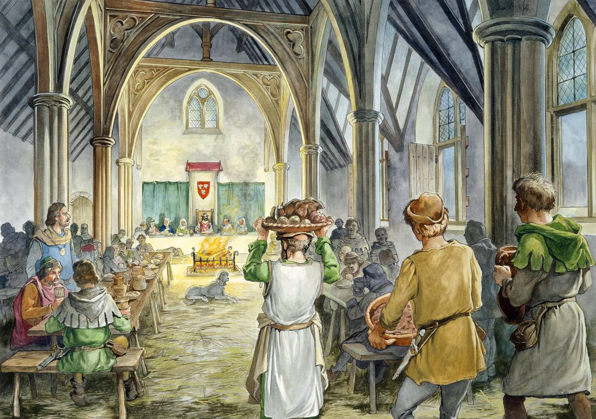 A 14th century painting shows people bringing food into a banquet hall.