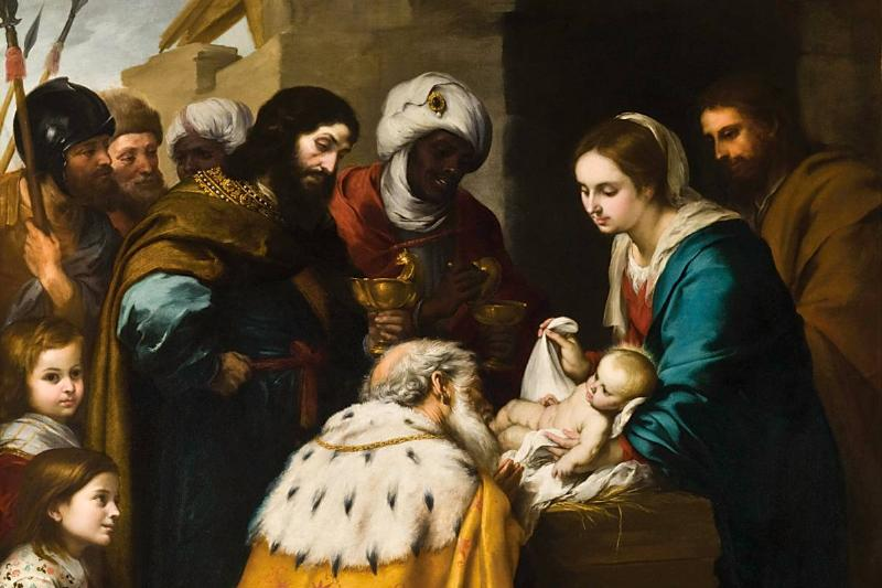A painting from the 17th century shows the three magi looking upon baby Jesus.