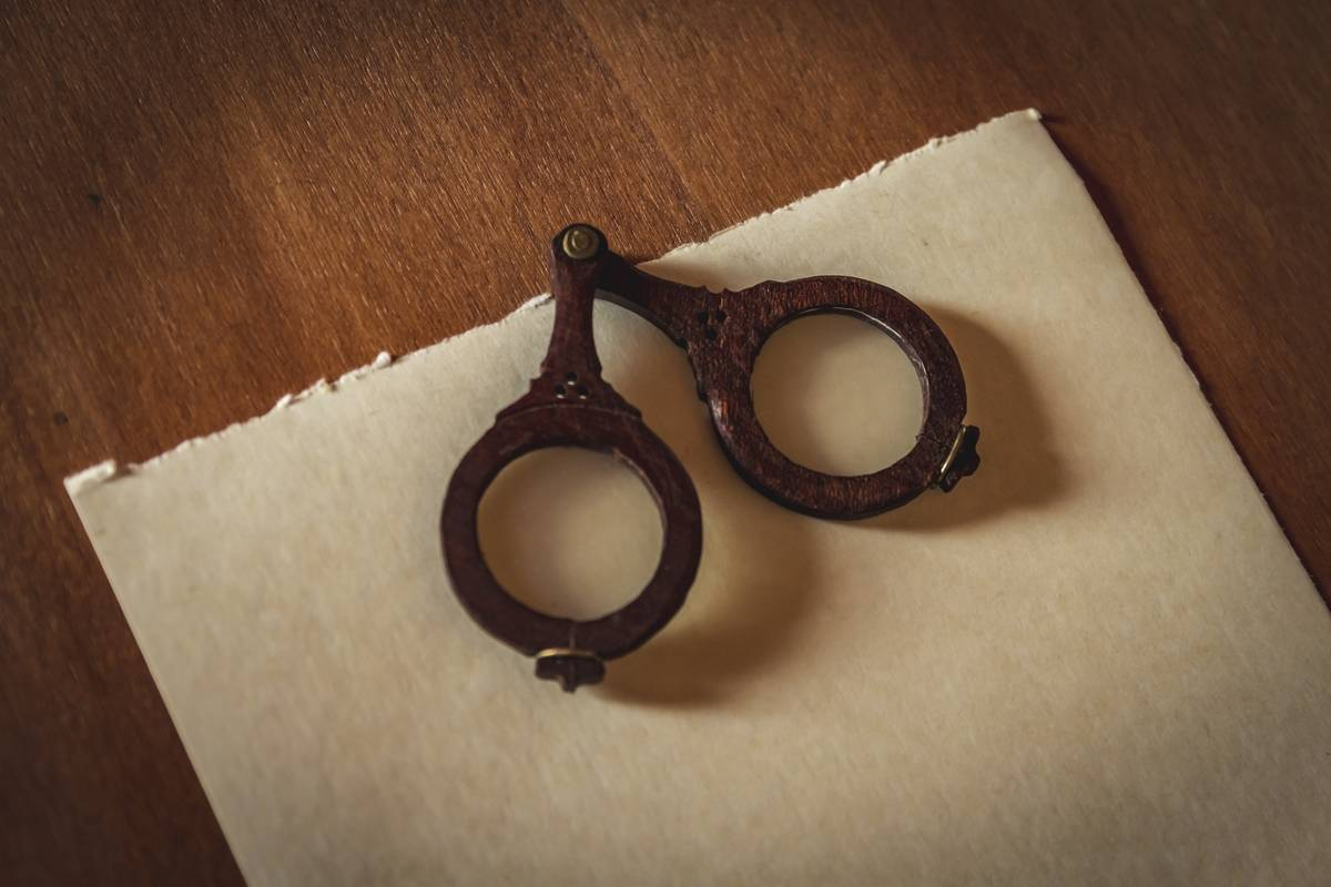 Eyeglasses from the 13th century, Italy are seen.