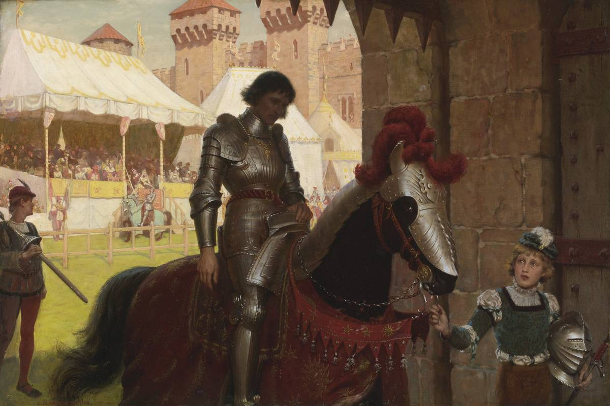 A Medieval knight sits on a horse in this 1884 painting by Edmund Blair.