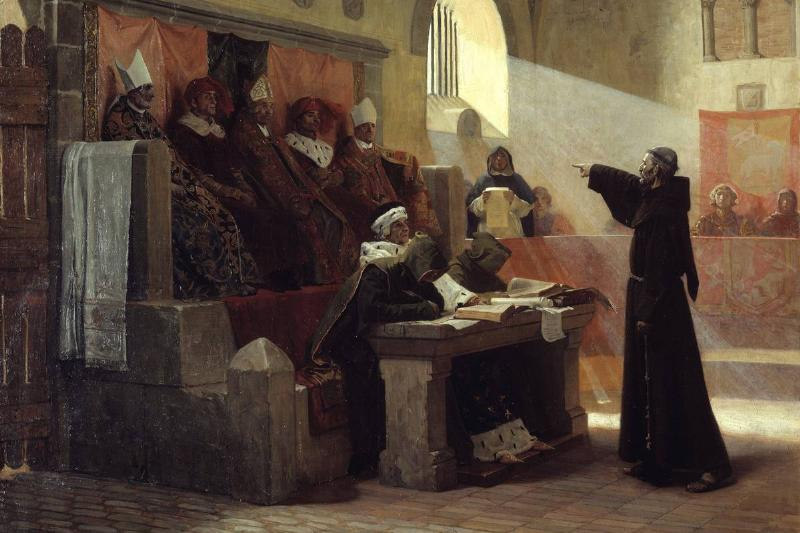 A painting shows the court during the trial of a Franciscan friar in the 13th century.