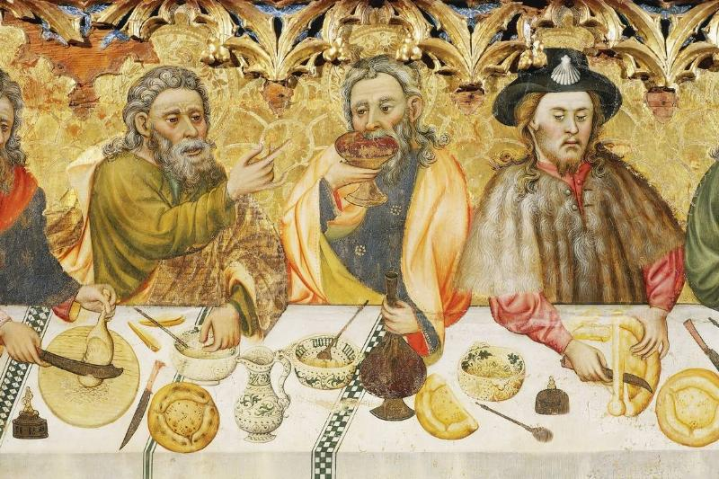 In this painting, three men eat during dinner.