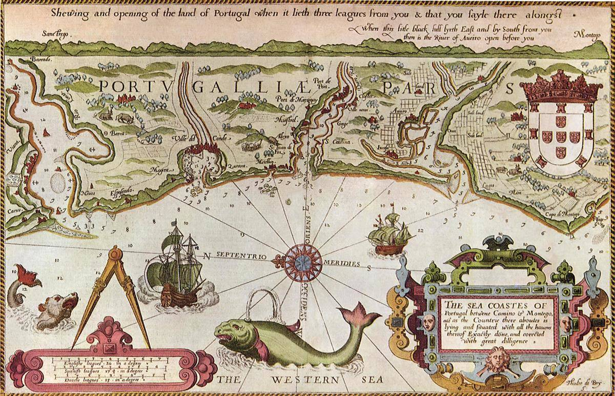 A map of the Portuguese Coast includes illustrations of monstrous sea creatures.