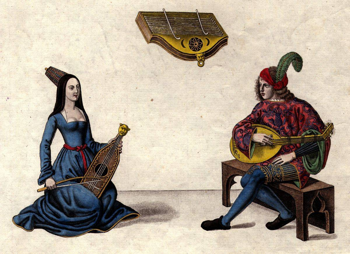 Two musicians play the lyre in the lute in this illustration from 1400.