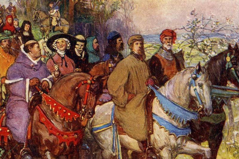 A painting portrays characters on a pilgrimage in Geoffrey Chaucer's works, 1343.