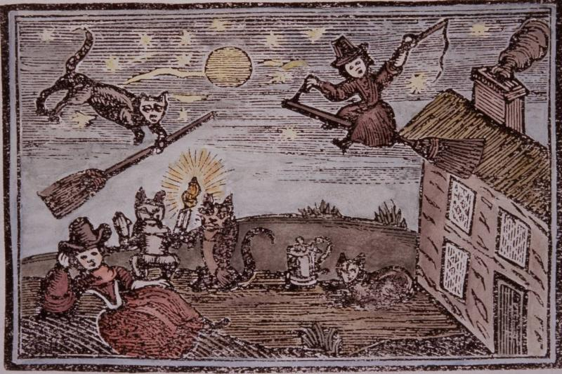 A medieval artwork portrays flying witches.
