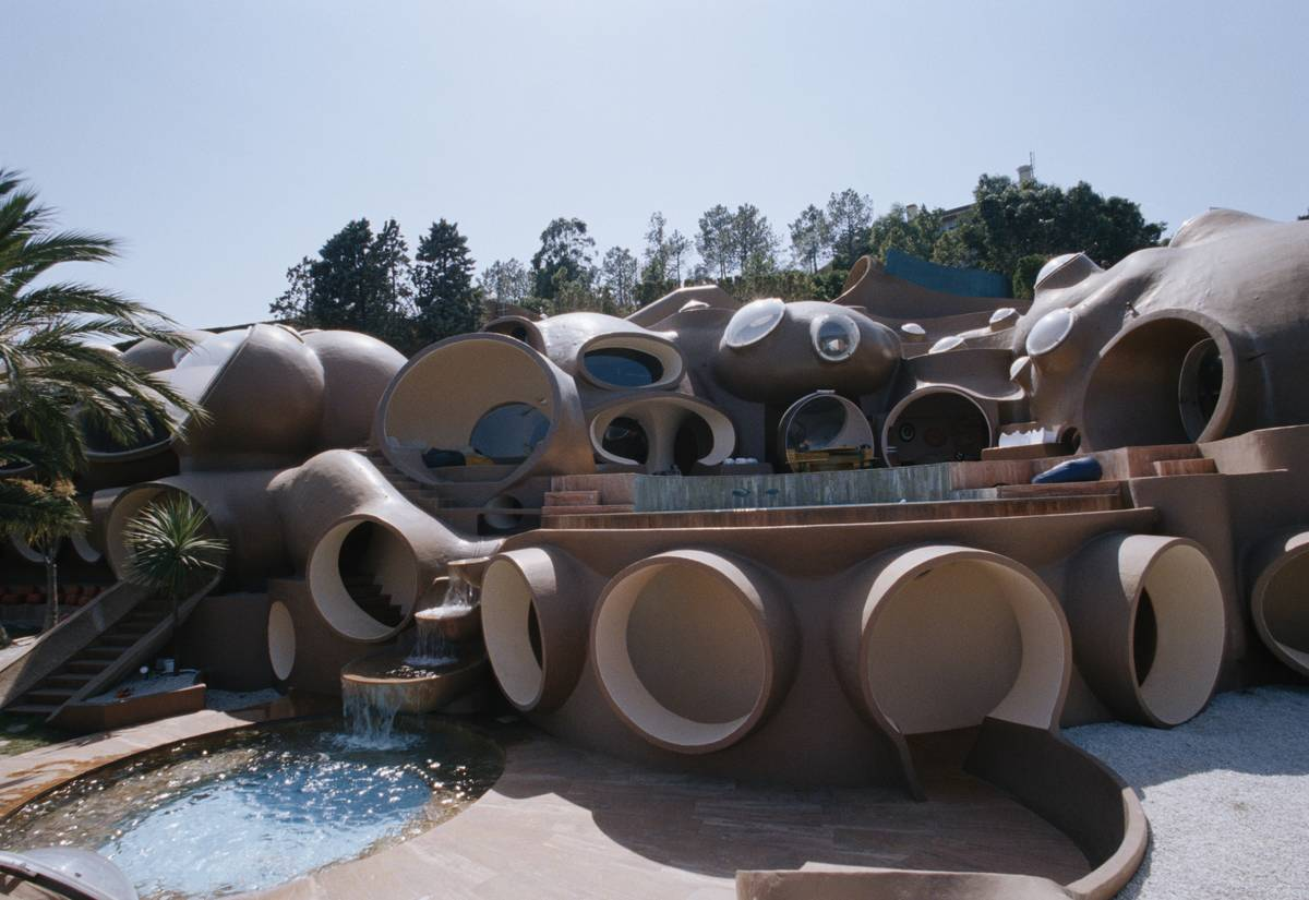 The exterior of the Le Palais Bulles, or Bubble Palace of France, is seen.