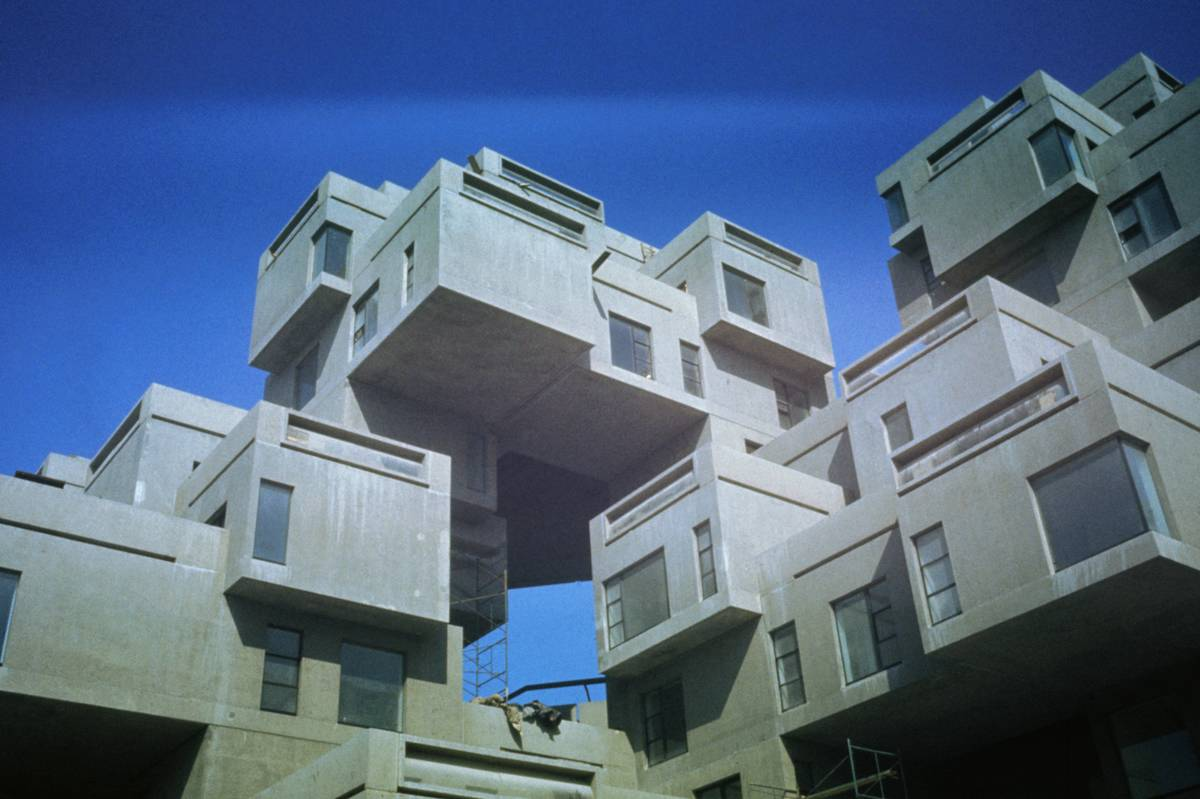 The Habitat 67 apartments in Montreal are pictured from the ground floor.