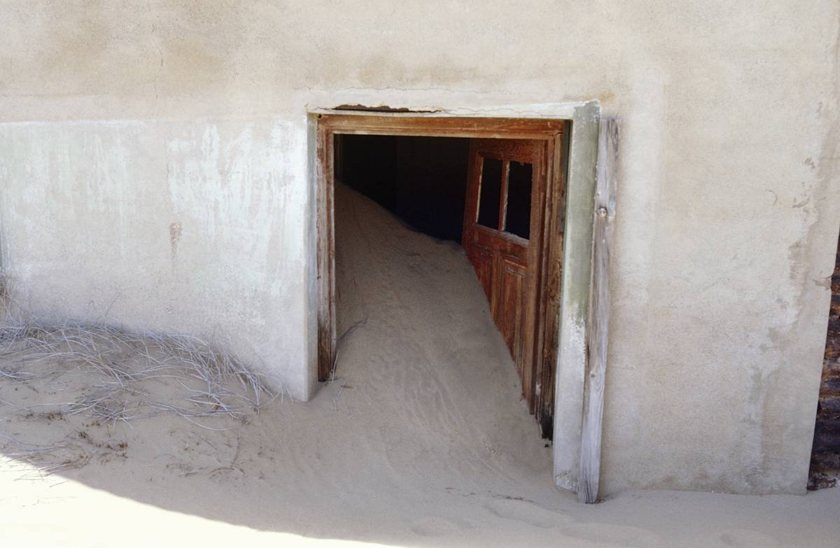 Sand invades a home in Kolmanskop, the ghost town of Namibia.