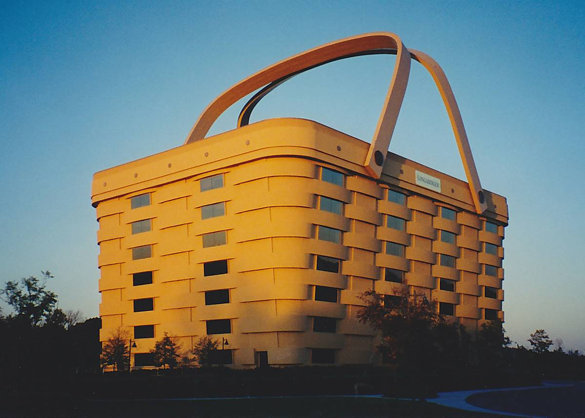 A museum in Longaberger is shaped like a basket and has seven stories.