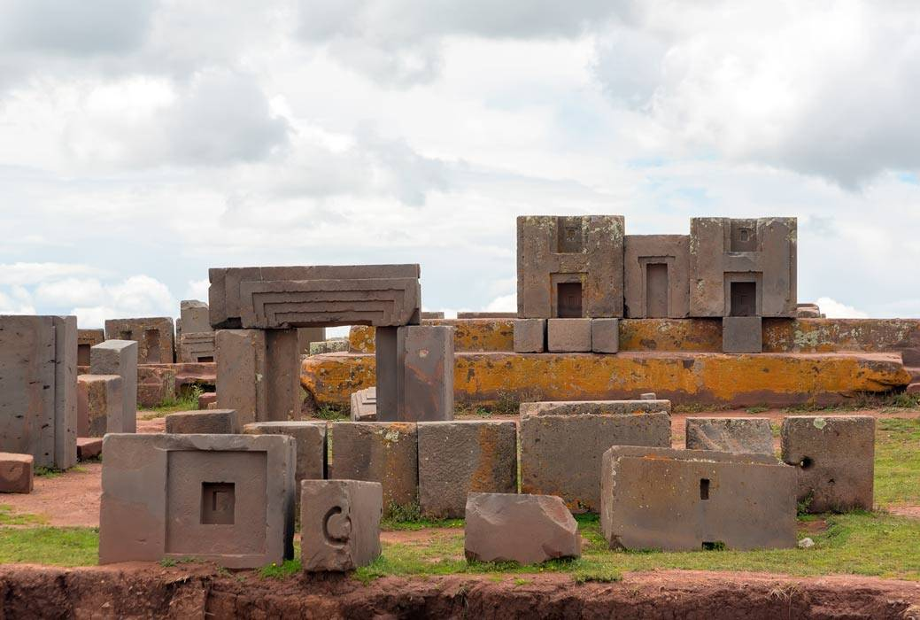 The square structures of Pumapunku is pictured.