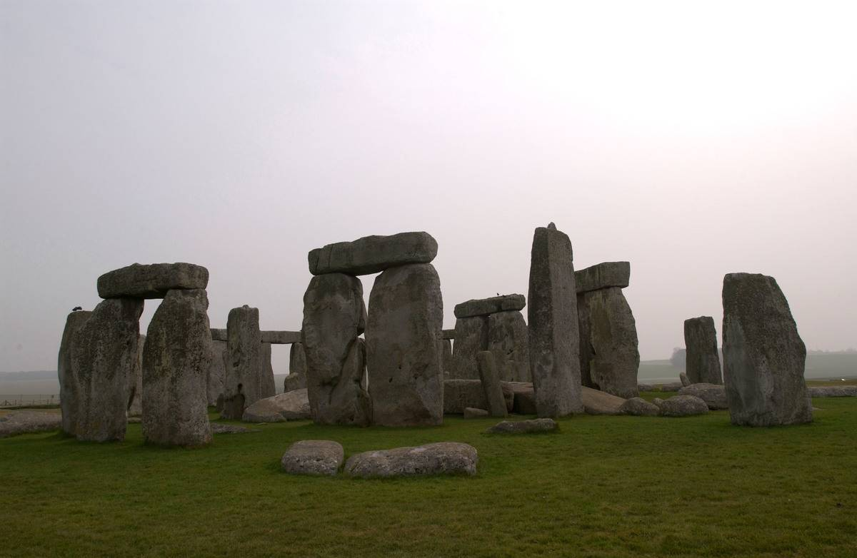 A stones of Stonehenge are pictured.