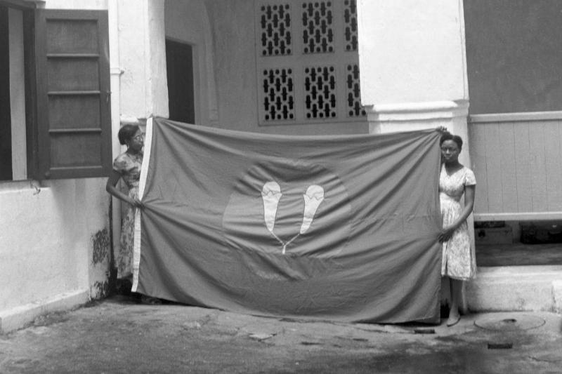 Women with a flag
