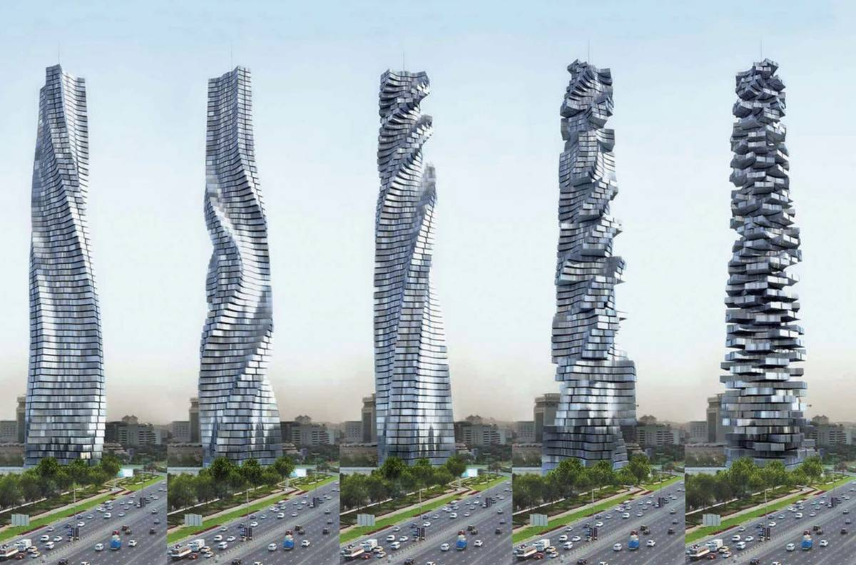 Multiple photos show the Dynamic Tower in Dubai twisting.