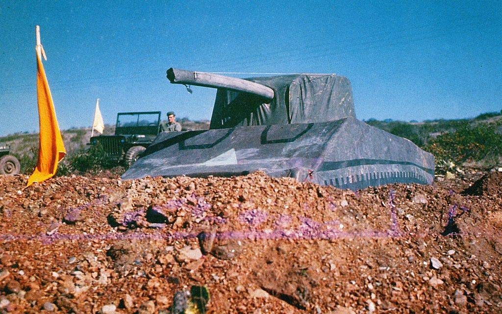 An inflatable dummy tank modelled after the M4 Sherman