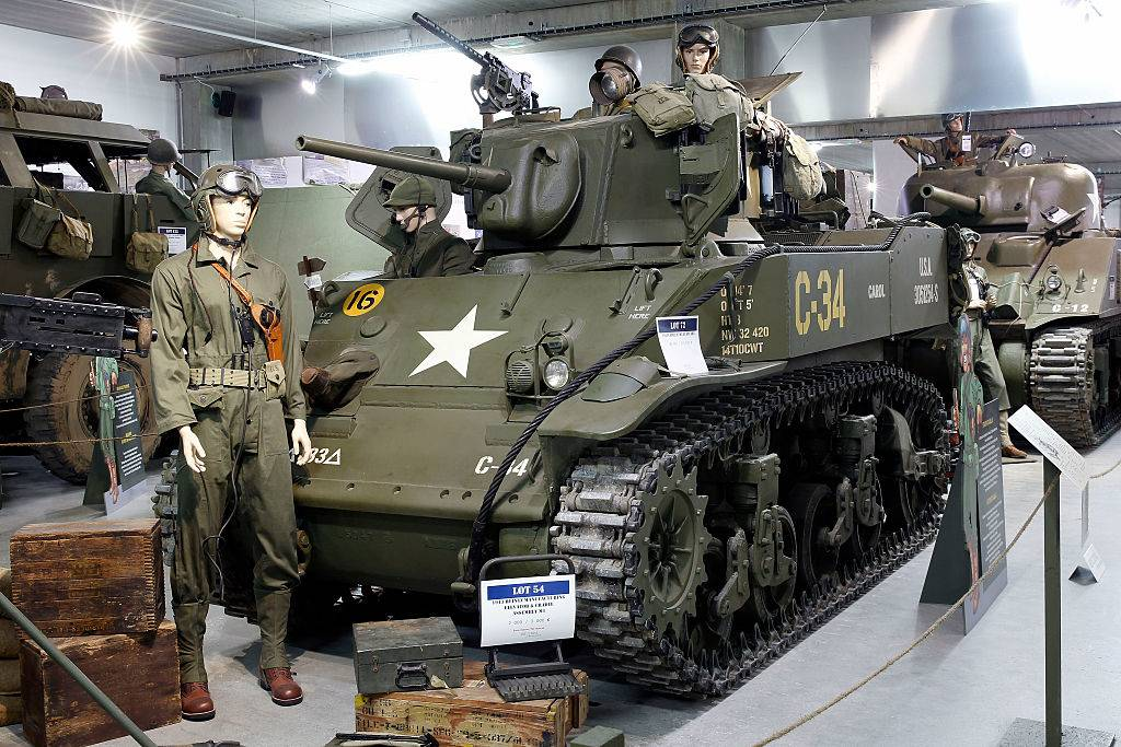 Cadillac M5 stuart tank displayed in a museum