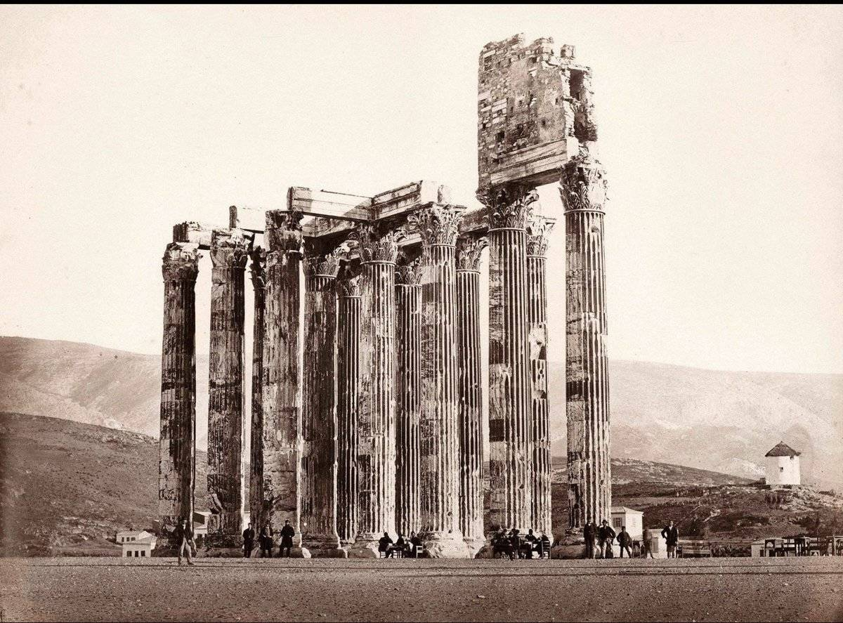 A strange building stands on top of the pillars in the Temple of Zeus, Athens.