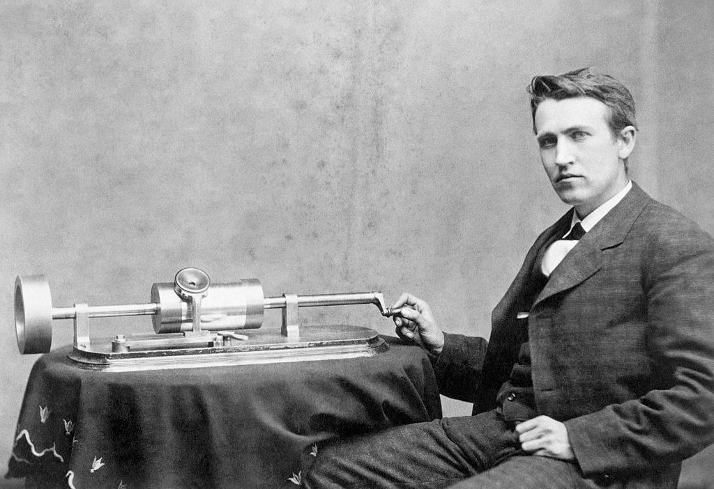 Professor Thomas Edison and his speaking phonograph