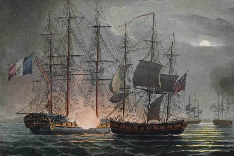 A painting by Thomas Whitcombe shows French ships at war.