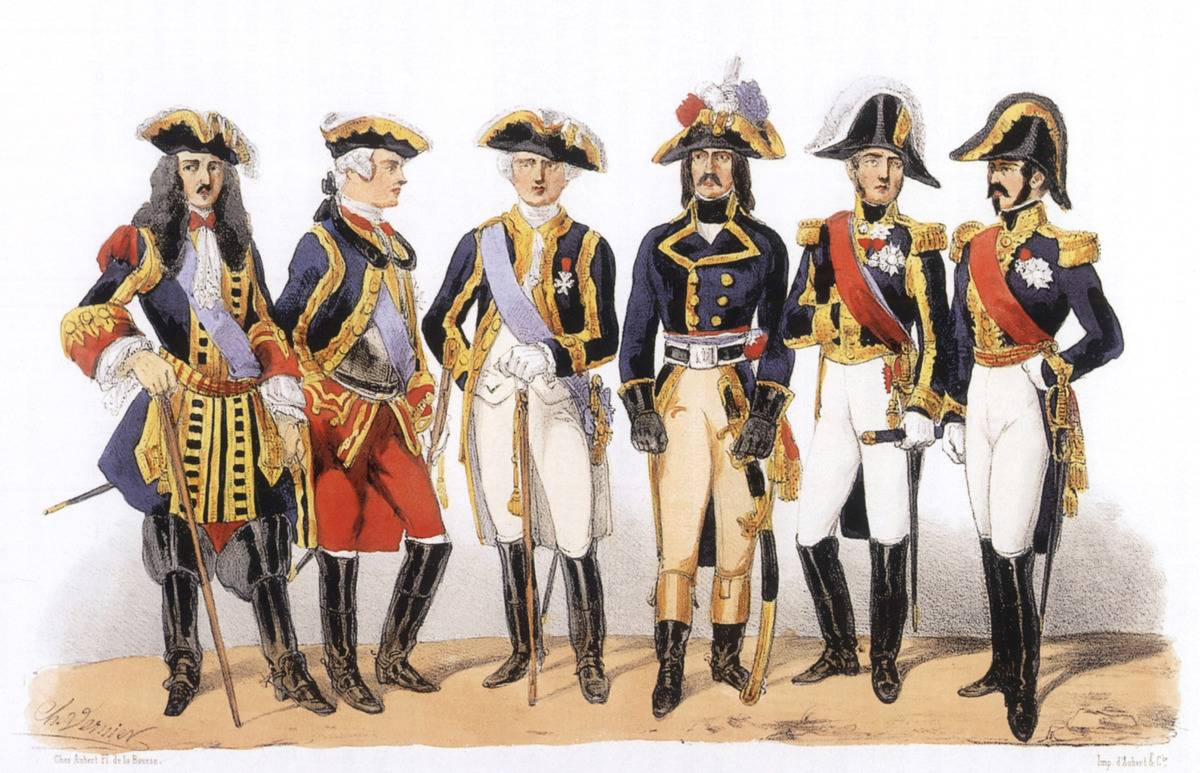 An illustration shows the outfits of French soldiers throughout the 1700s.