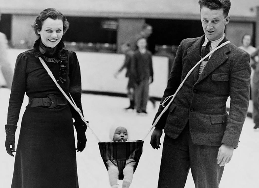 Couple ice-skating