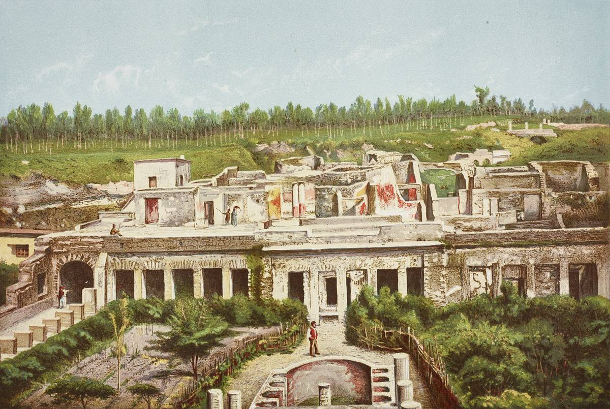 An artistic depiction of a villa in Pompeii shows what it might have looked like during its heyday.