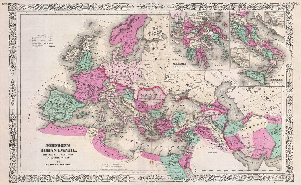 The 1864 Johnson Map depicts the Roman Empire at its height.