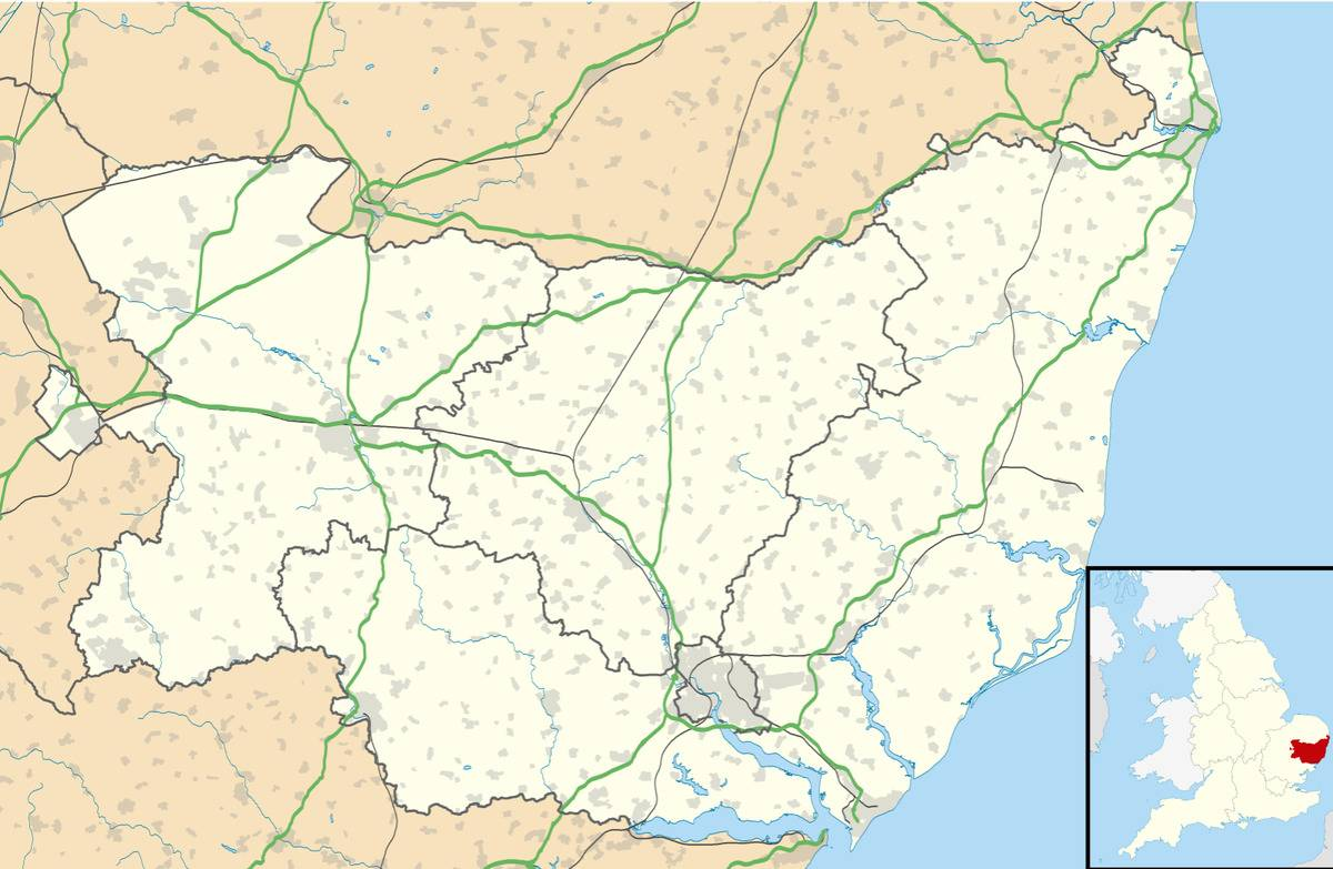 A map shows Suffolk, England, where the Hoxne Hoard was buried.