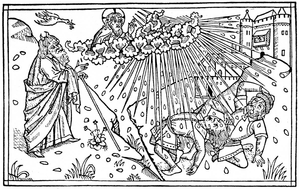 In this 1480 illustration, God sends hail to the Egyptians as one of the Ten Plagues.