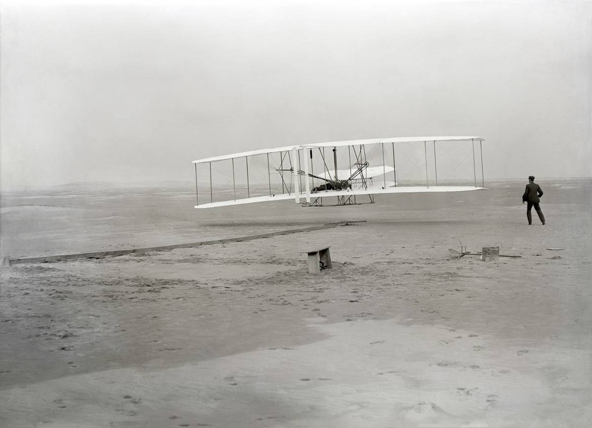 This photo shows the first plane flight, driven by Orville Wright.