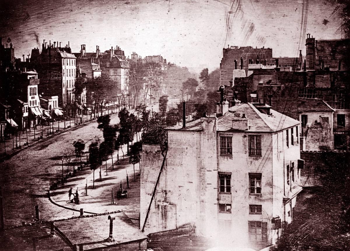 The Boulevard du Temple, Paris, France, is photographed by Louis Daguerre, 1838.