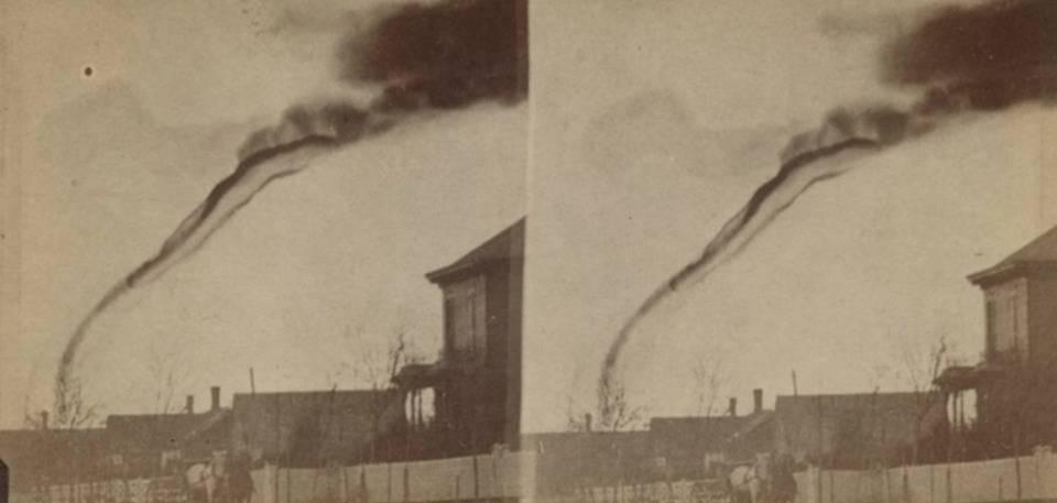 The first picture of a tornado was taken in Garnett, Kansas, 1884.