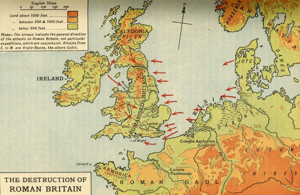 A map shows Britain under Rome being invaded towards the end of the Roman Period, 410 AD.