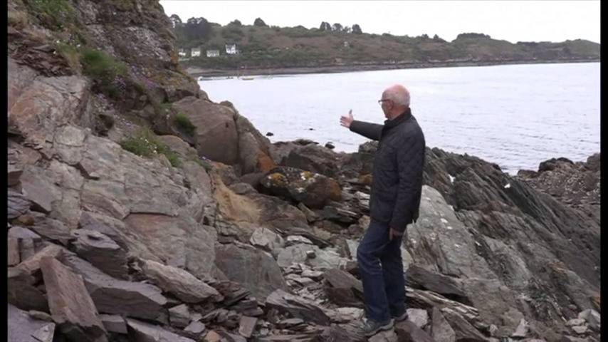 A man gestures toward the rock with the engravings.