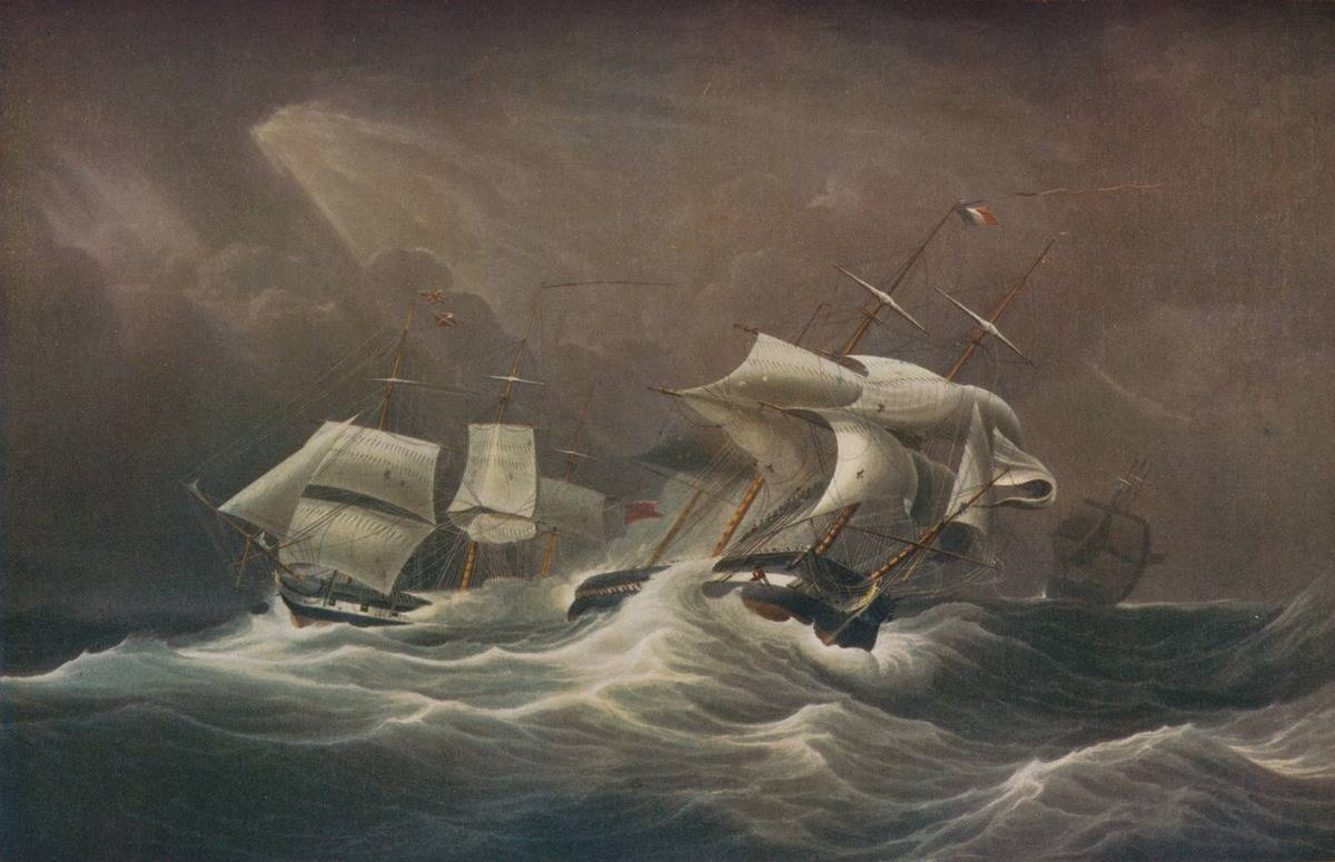 In this painting by Edward Duncan, French ships are swaying by a storm.