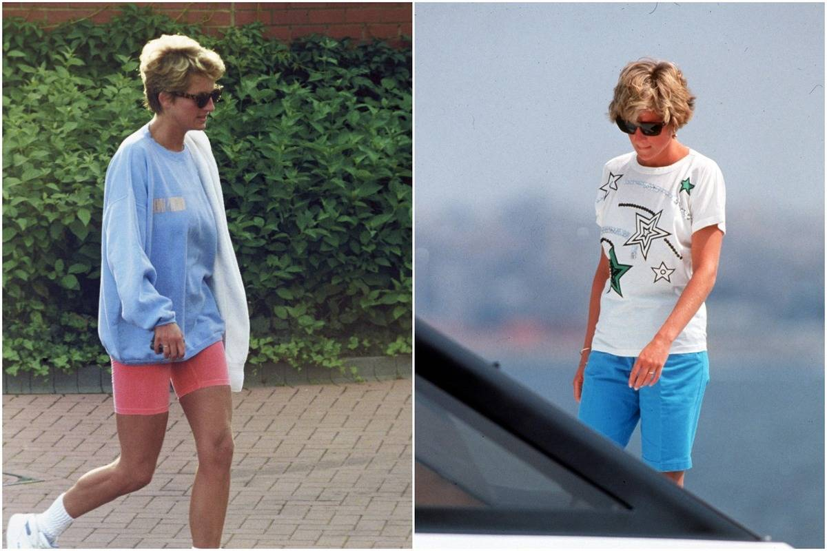 In these two photos, Diana wears a t-shirt or sweatshirt with colorful shorts.