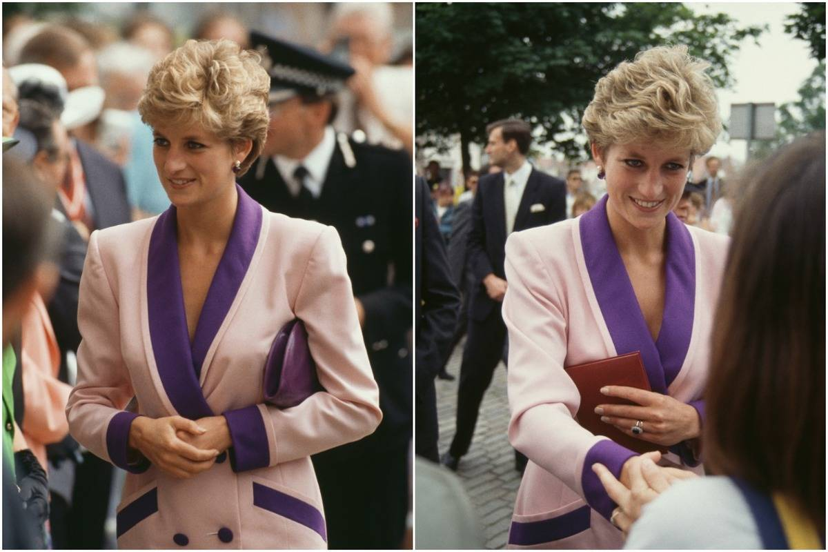 Diana wears a pink and purple suit to Humberside and Hill.