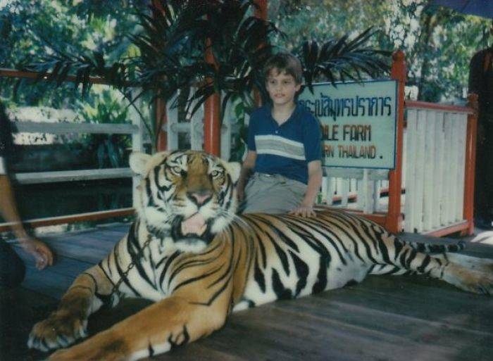 Kid and a tiger
