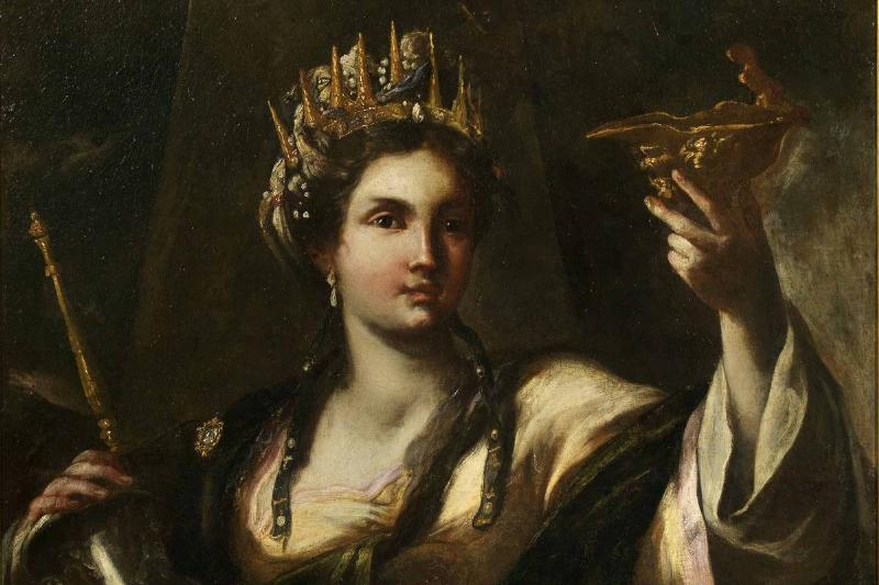 In this painting, Artemisia I of Caria toasts with a golden cup.