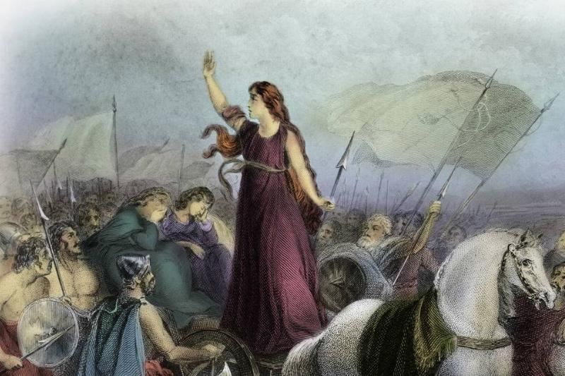 Boudica of the British Iceni tribe leads an uprising against the occupying forces of the Roman Empire.