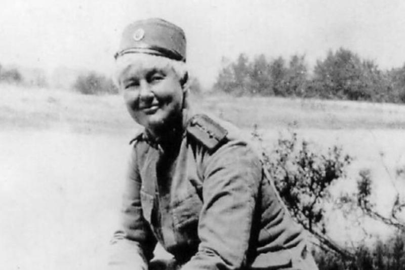 In this 1918 photo, Flora Sandes is seen in her Army uniform.