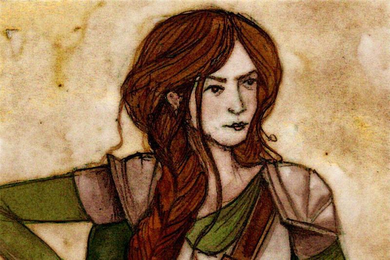 This art piece portrays Gwenllian Ferch Gruffydd with a sword.