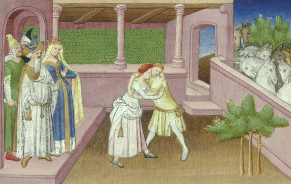 In this art piece, Khutulun wrestles a male suitor.