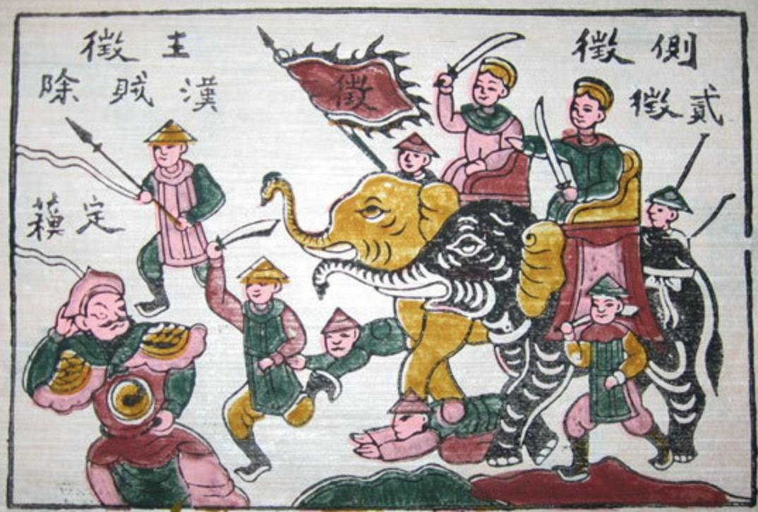 This Đông Hồ painting shows the Trung sisters riding into war on elephants.