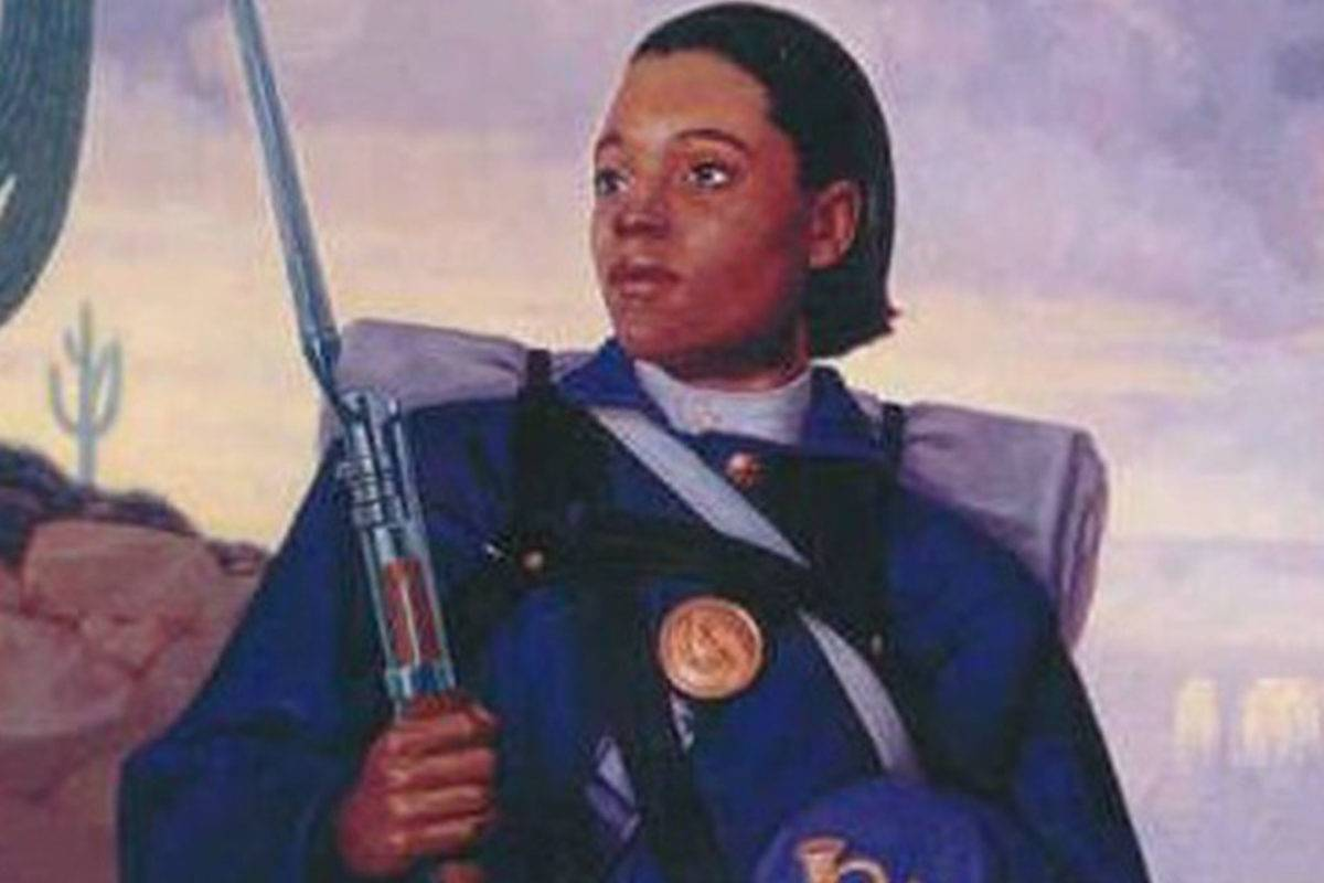 Cathay Williams is pictured in her Civil War uniform in this painting.