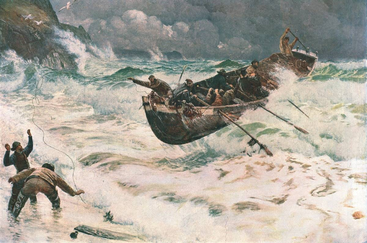Sailors on a fishing boat struggle to row in the storm, 1889 painting.