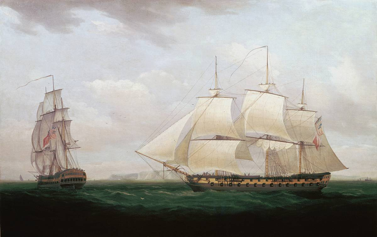 Two ships sail away in 1858, painting.
