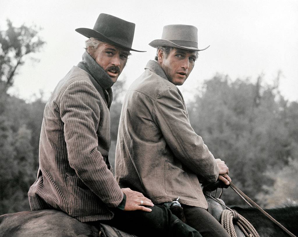 American actors Robert Redford and Paul Newman on the set of Butch Cassidy and the Sundance Kid