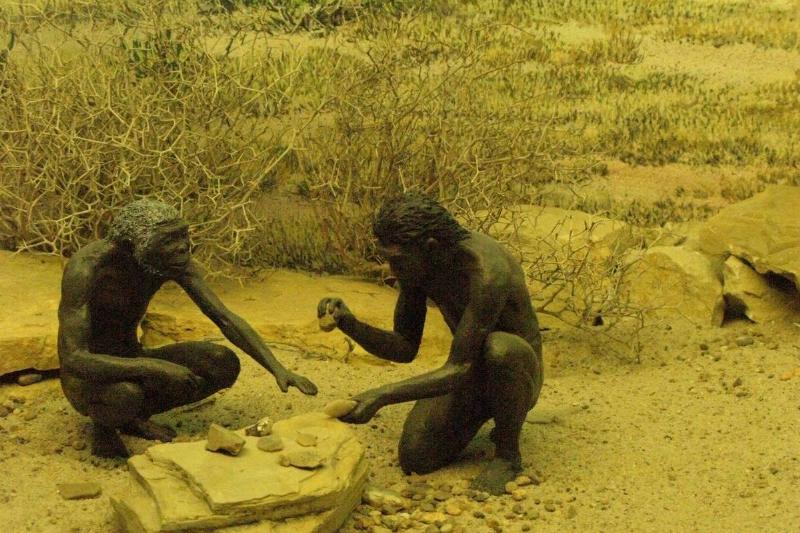 Two ancient humans are represented in this museum display.