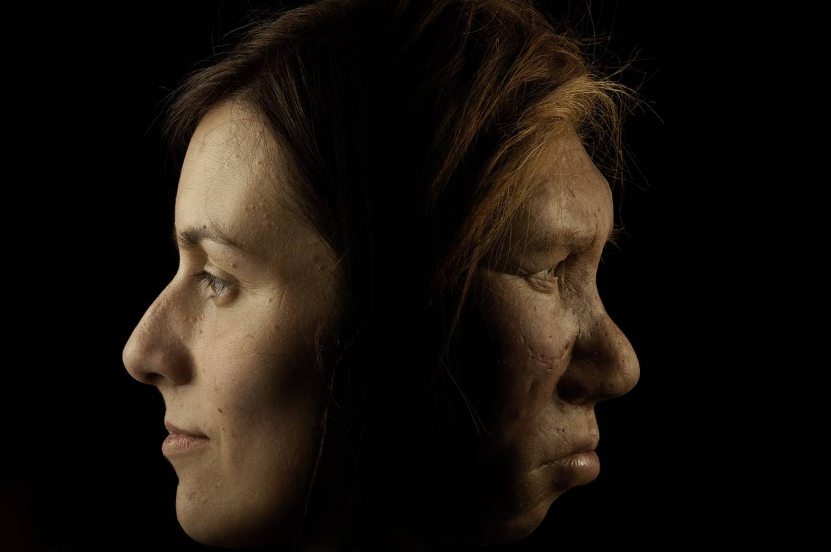 A modern woman's face is shown next to an ancient woman's face.